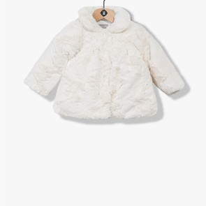 Manteau en fausse fourrure écru