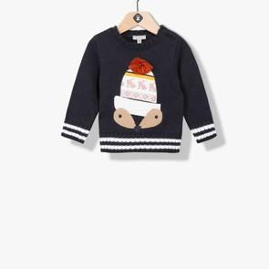 Pull tricot garçon visuel animalier
