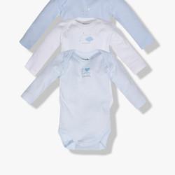 Lot de 3 bodies manches longues bleu