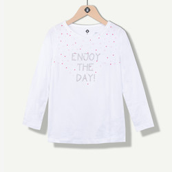 Maxi t-shirt fille blanc Enjoy the day