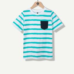 T-shirt garçon turquoise avec poche