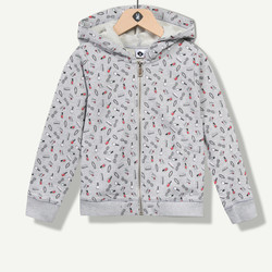 Gilet fille à capuche print girly allover