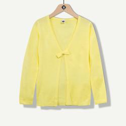 Cardigan fille jaune avec noeud