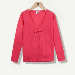 Cardigan fille rose avec noeud