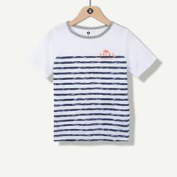 T-shirt garçon à rayures marine