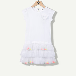 Robe tulle pompons multicolores