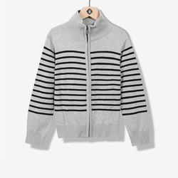 Gilet garçon tricot rayé gris