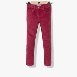 Pantalon fille en velours rose