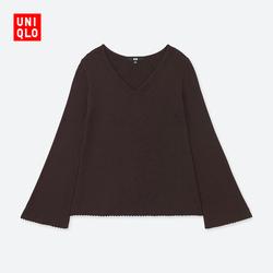 Women's Merino wool blend horn sleeve knit shirt (long sleeves) 401 087