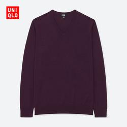 Men's worsted merino V-neck sweater (long sleeves) 400 621