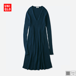 Li Nuluo US Women's U 3D pattern V-neck dress (long sleeves) 404 076
