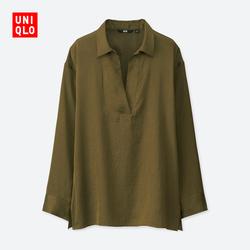 Ladies satin half-open collar shirt (long sleeves) 402 667