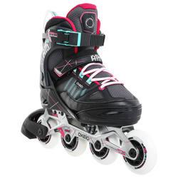 Comfortable roller skating Adjustable 10-16 year olds Junior roller skates OXELO Fit 5 Kids' Fitness Inline Skates