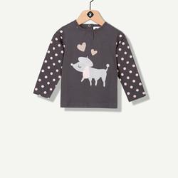 T-shirt chien fantaisie gris
