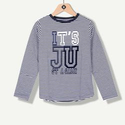 T-shirt garçon jersey à rayures marine