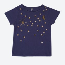 Embroidery Round Neck T-Shirt - Blue