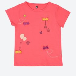 Embroidery Round Neck T-Shirt - Pink