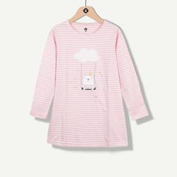 Chemise de nuit à rayures vieux rose