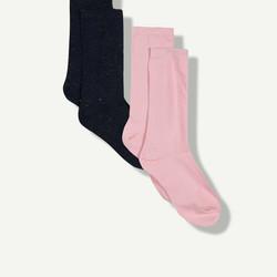 Lot de 2 chaussettes filles brillantes marine et rose