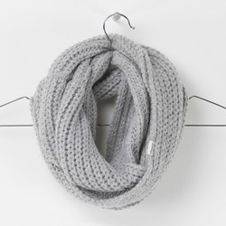 Women's Lurex Infinity Scarf, Grey