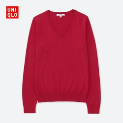 New Year red women's cotton V-neck sweater (long sleeves) 404 005