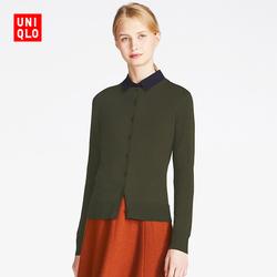 Women's worsted merino round neck cardigan (long sleeves) 400 438