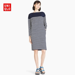 Women's cotton striped boat neck dress (long sleeves) 404 502