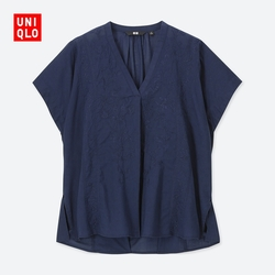 【Special sizes】Women embroidered cotton shirt (short sleeves) 404 554