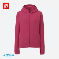 Women AIRism mesh zip hooded cardigan (long sleeve) 404 086