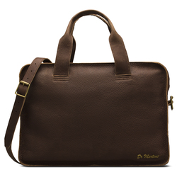 HANDLED LAPTOP CASE DARK BROWN GRIZZLY