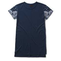 Women's Dress T-Shirt INDIGO+NAVY/WHITE BANDANA PRINT TENCEL+COTTON