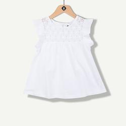 T-shirt blanc manches volantées