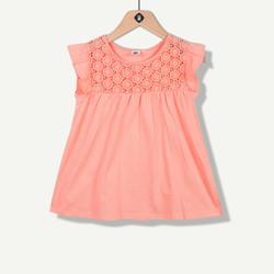 T-shirt rose manches volantées