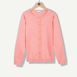 Cardigan tricot rose à pois