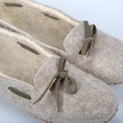 Felt slippers tie adult