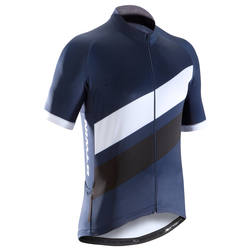 500 Short-Sleeved Road Cycling Jersey - Navy Blue/White