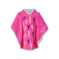 Pink baby poncho with hood Flamingo print