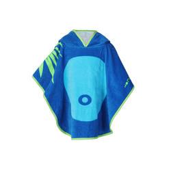 Baby Poncho with Hood blue monkey print