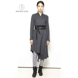 cotton Jersey Dress / cardigan with leather belt