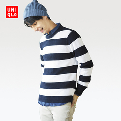 Men's cotton-blend rib striped crew neck sweater (long-sleeved)