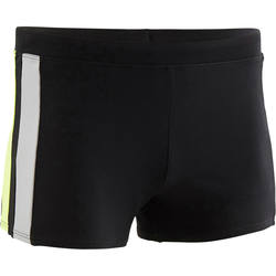 YOKE 500 MEN'S BOXER SWIM SHORTS BLACK GREEN