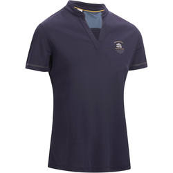 PL500 Mesh Women's Horse Riding Short-Sleeved Polo Shirt - Navy Blue and Grey