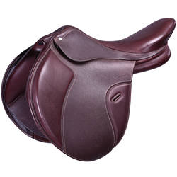 "Paddock Horse Riding 17.5"" Adjustable Tree Mixed Leather Saddle - Brown"