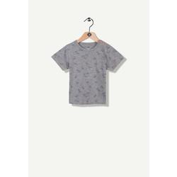 T-shirt gris imprimé tropical
