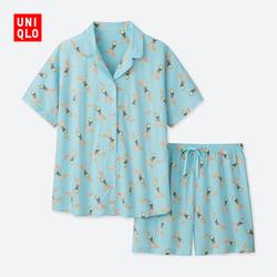 Women's Cotton Blend Stretch Print Pajamas (Short Sleeve)