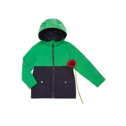 Two-tone raincoat with hood