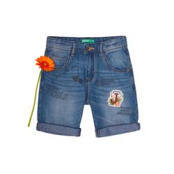 Denim bermudas with print and patch