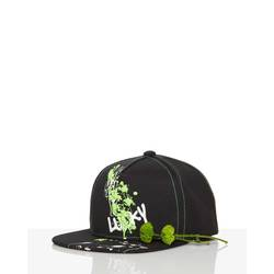 Hat with brim and neon print