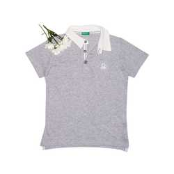 Jersey polo with patch