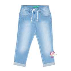 Straight leg jeans with drawstring